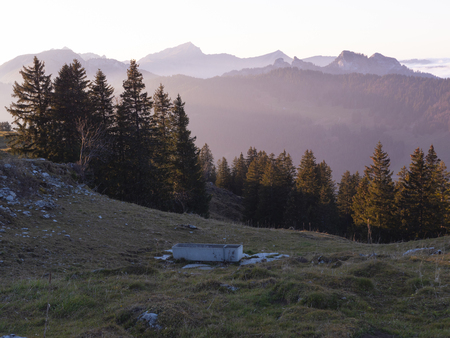 a sunset in the swiss alps
