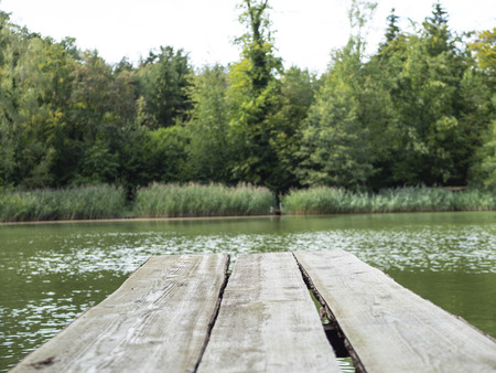 a gangplank over a lake Zdjęcie Seryjne