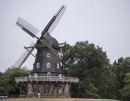 a wooden windmill in Sweden Zdjęcie Seryjne