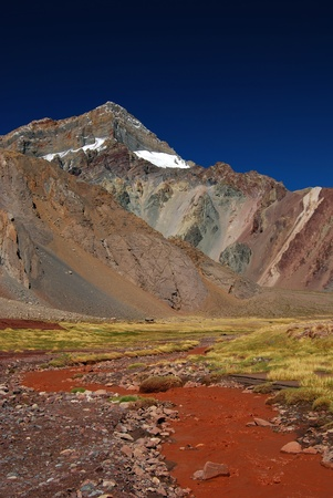 landscape with mountains and volcanic ground photo