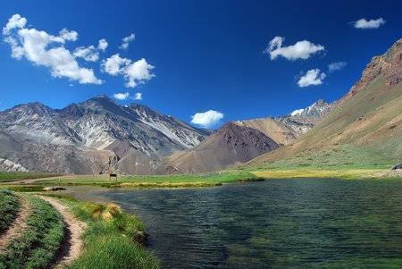 lake and mountains landscape Aconcagua Park Argentina  photo