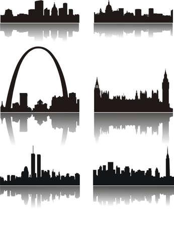 Negro panorama de las ciudades Vectores