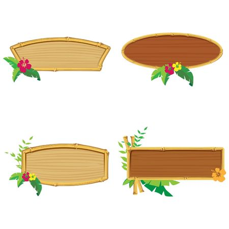 Bamboo banners. illustration