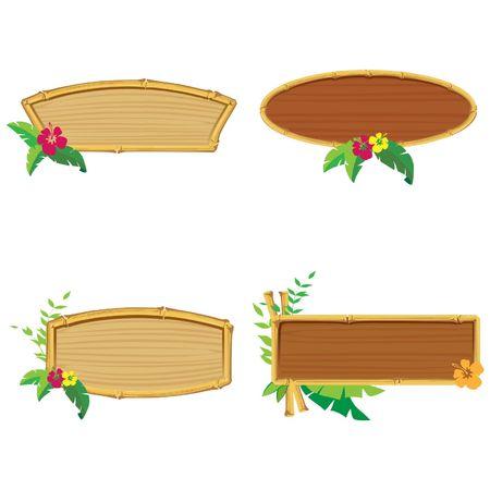 Pancartas de bamb�. Ilustraci�n