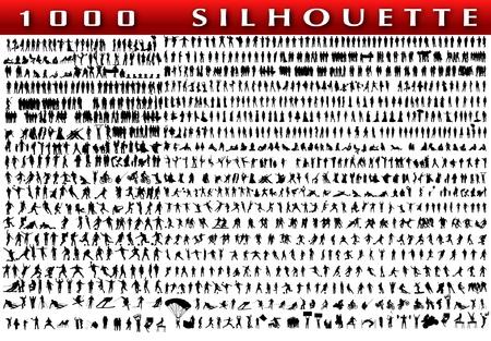 Conjunto de 1.000 personas silueta Vectores