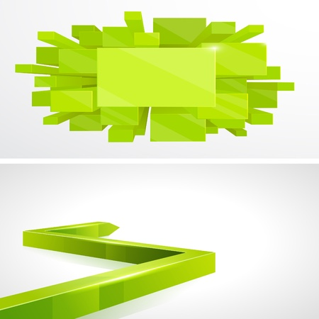 Set 3D Green layout design Vector