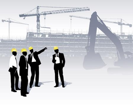 建設: ビルダーおよびクレーンのシルエットの図