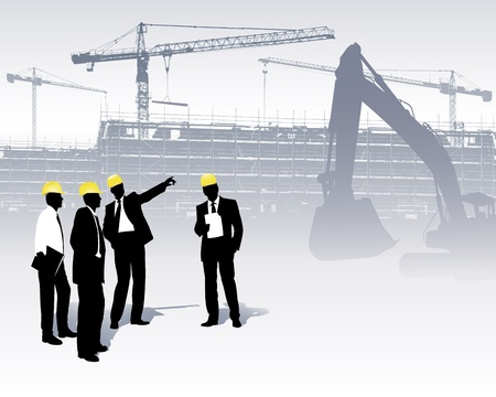 illustration with builder and crane silhouettes Vector
