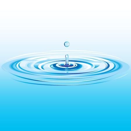 reflectie water: Blauwe vloeistof druppel vallen in water met rimpelingen en golven Stock Illustratie