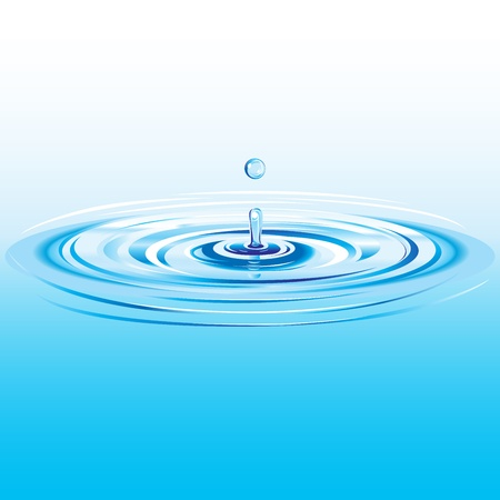 Blue liquid drop falling in water with ripples and waves Vector