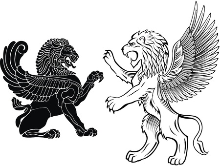 Standing and Winged Lion Vector