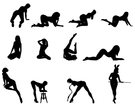 Silhouettes of sexy beautiful women dancing Illustration