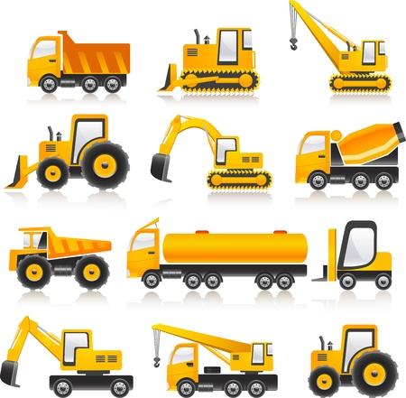 yellow tractor: ilustraci�n de hormig�n coches constructo