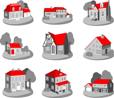 Conjunto de casas 3d ilustraci�n aislados en blanco
