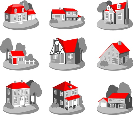 Set of 3d houses isolated on white illustration Vector