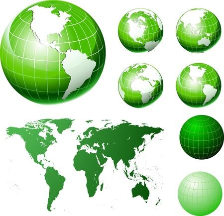 Tierra set globo, diferentes puntos de vista
