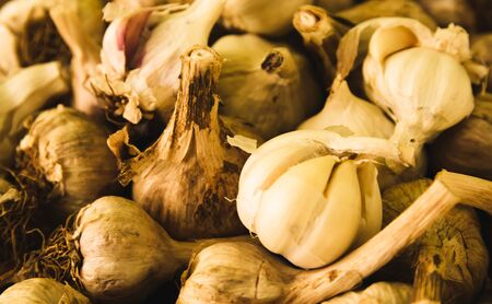 non: Fresh garlic picked from a nearby farmers market.