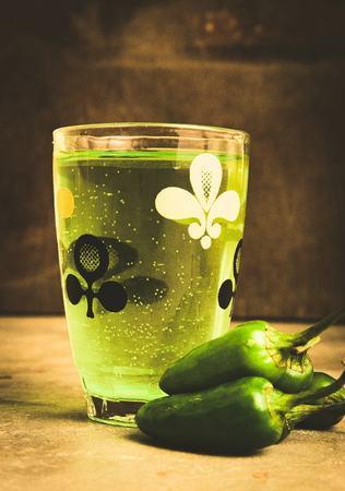 aerated: Green elixir - a wonder drink. Chill with this refreshment. Stock Photo