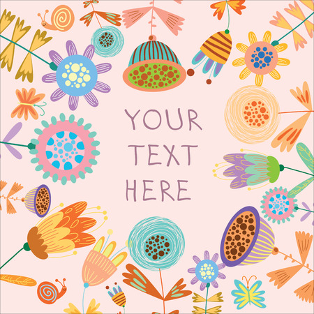 Beautiful floral background.Bright illustration, can be used as creating card,invitation card for wedding,birthday and other holiday and cute summer background. Vector