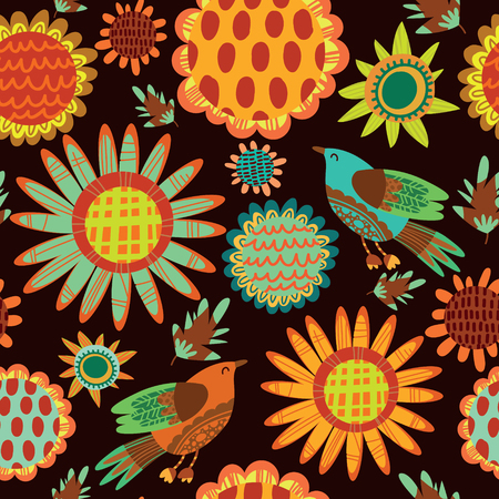 seamless pattern with sunflowers and birds.Cute seamless floral pattern. Vector