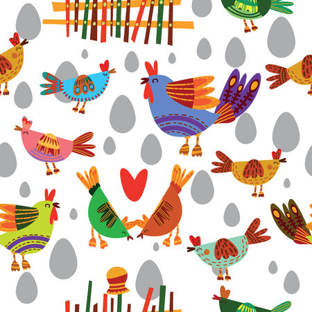 poult: Seamless pattern with cute chickens. Seamless pattern can be used for wallpaper, pattern fills, web page backgrounds, surface textures.