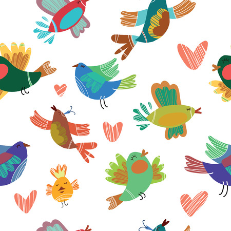 Spring birds seamless pattern. Colorful texture on color  background Vector