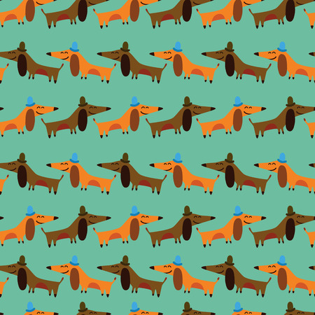 badger dog: Funny dachshunds  Cartoon seamless pattern for childish designs   Seamless pattern can be used for wallpaper, pattern fills, web page background, surface textures  Illustration