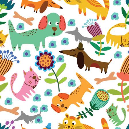 gato caricatura: Animales divertidos en las flores de dibujos animados patrón transparente para diseños infantiles fisuras patrón se puede utilizar para el papel pintado, patrones de relleno, de fondo página web texturas de la superficie