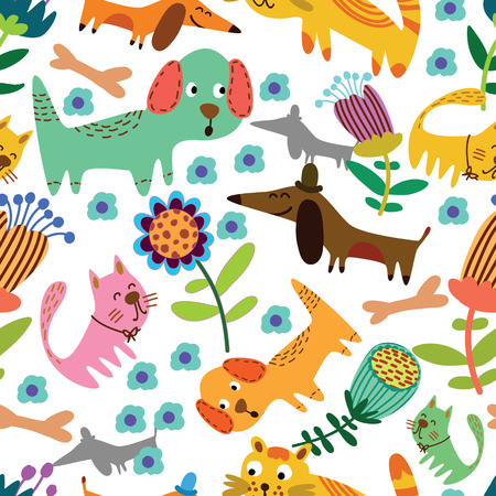 cat toy: Funny animals in flowers  Cartoon seamless pattern for childish designs   Seamless pattern can be used for wallpaper, pattern fills, web page background, surface textures  Illustration