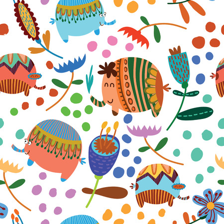 Cartoon funny childish elephants. Cute seamless pattern for nice backgrounds Vector