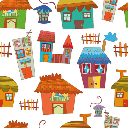 Seamless pattern of cartoon houses. Kids elements for scrap-booking.  Vector