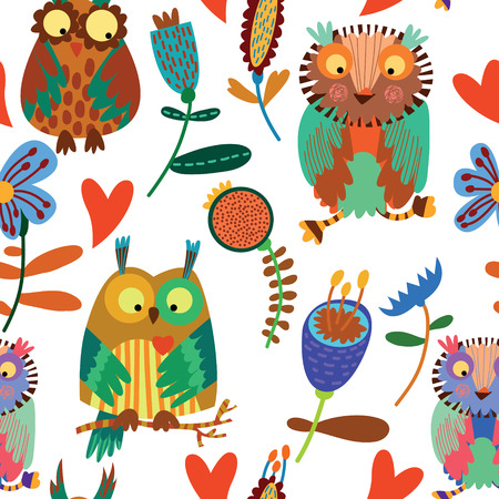 Cute colorful floral seamless pattern with owl and flowers