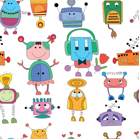 seamless Robot pattern,cartoon  Vector