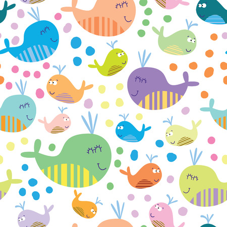 crab cartoon: Cartoon marine seamless pattern for childish wallpapers with whales