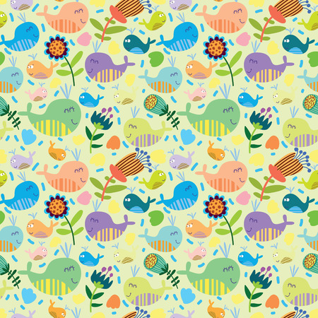 Cartoon marine seamless pattern for childish wallpapers with whales