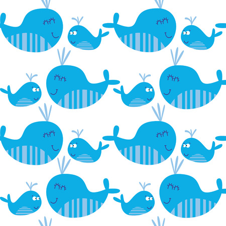 Cartoon marine seamless pattern for childish wallpapers with whales Stock Vector - 28427572