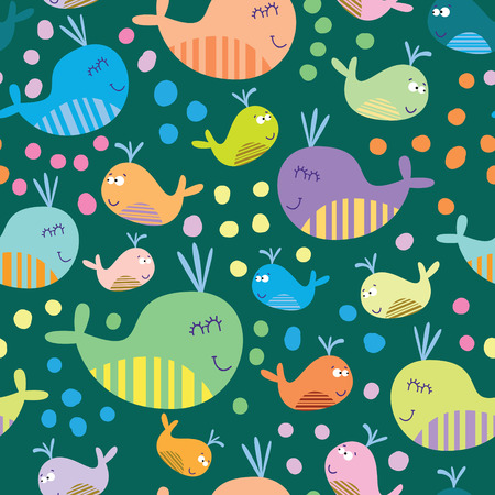 Cartoon marine seamless pattern for childish wallpapers with whales Vector