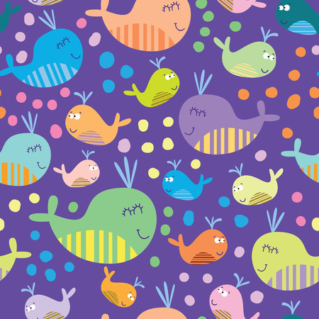 sea creature: Cartoon marine seamless pattern for childish wallpapers with whales