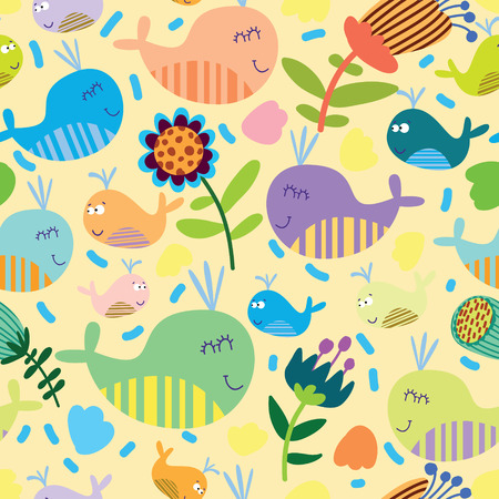 Cartoon marine seamless pattern for childish wallpapers with whales Stock Vector - 28427574