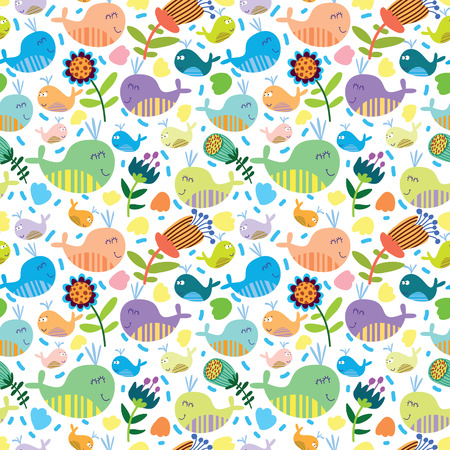 Cartoon marine seamless pattern for childish wallpapers with whales Stock Vector - 28427575