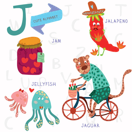 pre school: Alphabet design in a colorful style. Illustration