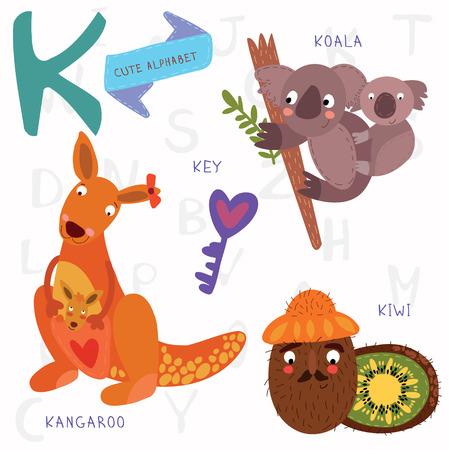 koala: Dise�o de alfabeto en un estilo colorido.