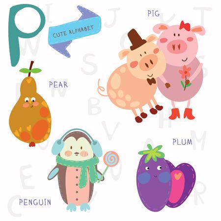 Alphabet design in a colorful style. Ilustração