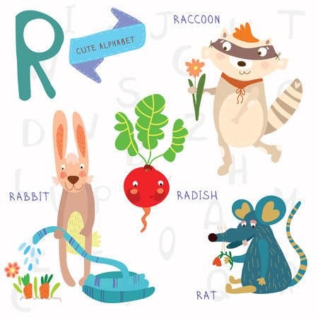 Alphabet design in a colorful style.  イラスト・ベクター素材