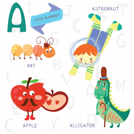 Alphabet design in a colorful style. Vector