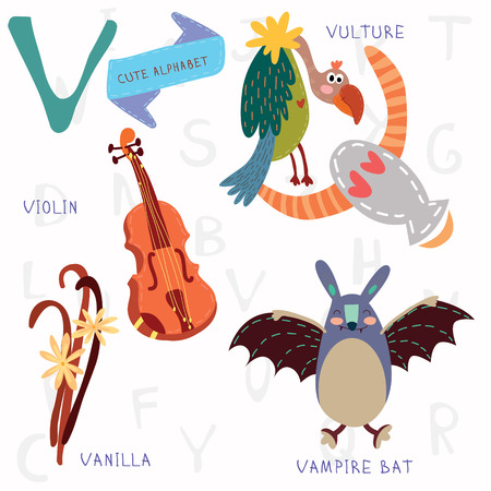 violin making: Alphabet design in a colorful style. Illustration