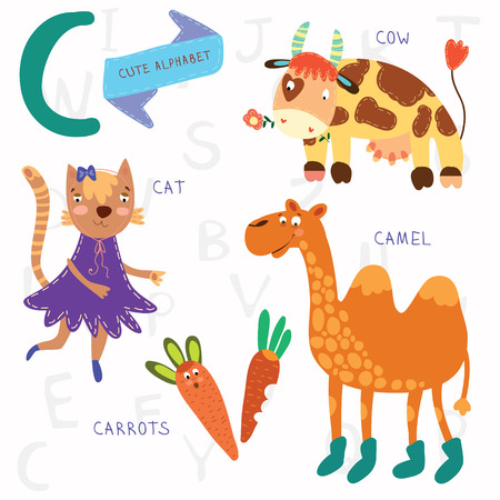 children cow: Alphabet design in a colorful style. Illustration