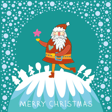 Cute vector background with funny Santa. Christmas night with snow. Falling stars postcard. Vector