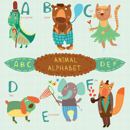 Cute animal alphabet. A, b, c, d, e, f letters. Alligator, bear, cat, dog, elephant, fox.Alphabet design in a colorful style. Illustration
