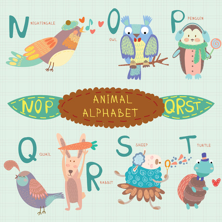 Cute animal alphabet. N, o, p, q, r, s, t letters. Nightingale, owl, penguin, quail, rabbit, sheep, turtle.Alphabet design in a colorful style.  イラスト・ベクター素材